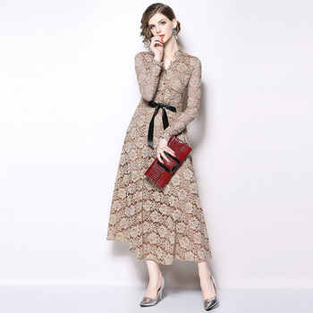 Borisovich Women Lace Long Dress New Brand 2018 Autumn Fashion England Style V-neck Luxury Elegant Ladies Party Dresses N040