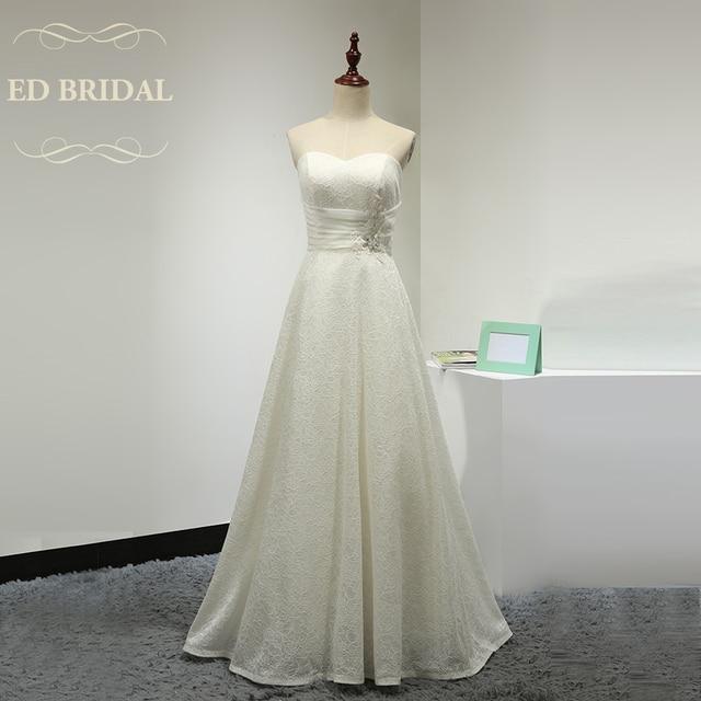 Einfache Elegante A Line Schatz Bodenlangen Spitze Brautkleid ...