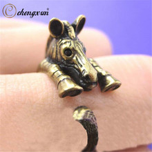 CHENGXUN Armenia Silver Ring Lucky Animal Jewelry Kids Children's Ring Zoo African Zebra Rings Charming Adorable Brass Gift