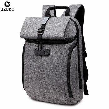 OZUKO Men Laptop Backpack High Capacity Anti theft Travel Backpack Male Orthopedics Backpack Oxford Multifunction Travel Bag grande bolsas femininas de couro