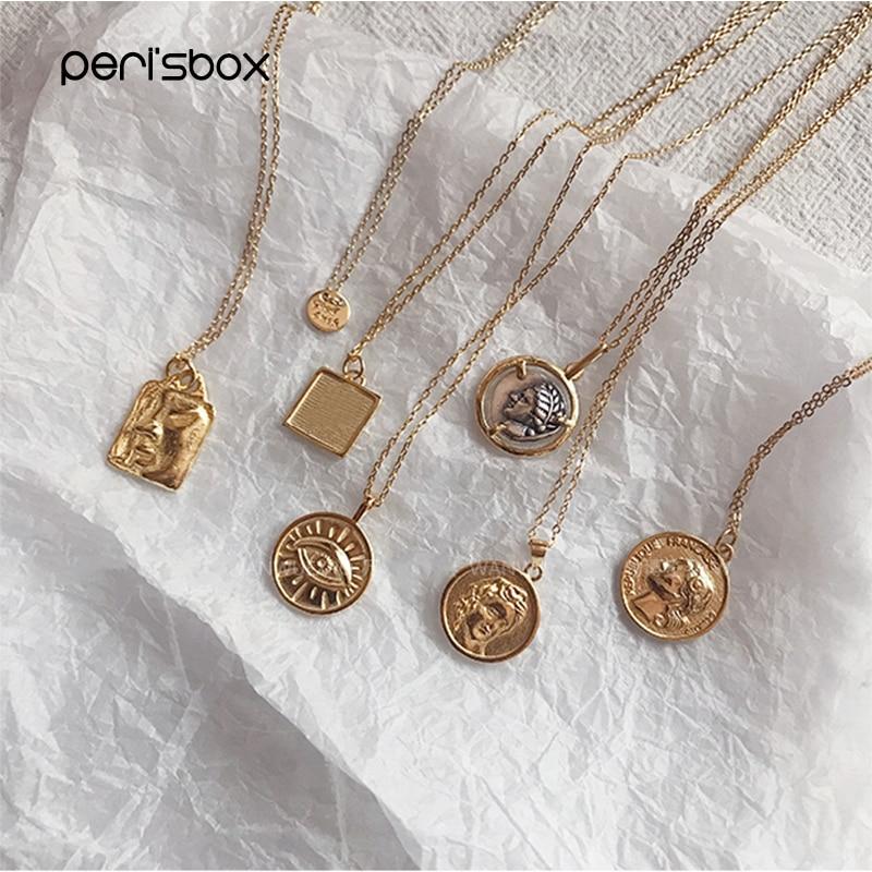 Peri'sBox 925 Sterling Silver Coin Pendant Necklace For Women Mini Malachite Pendants Medallion Layered Necklaces Statement
