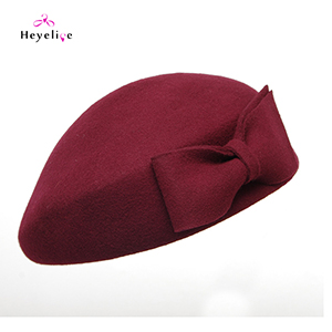 Vintage Cashmere Caps Women Berets With Big Bowknot Winter Berets Hats Solid Fashion Cap New Warm Ladies Hats