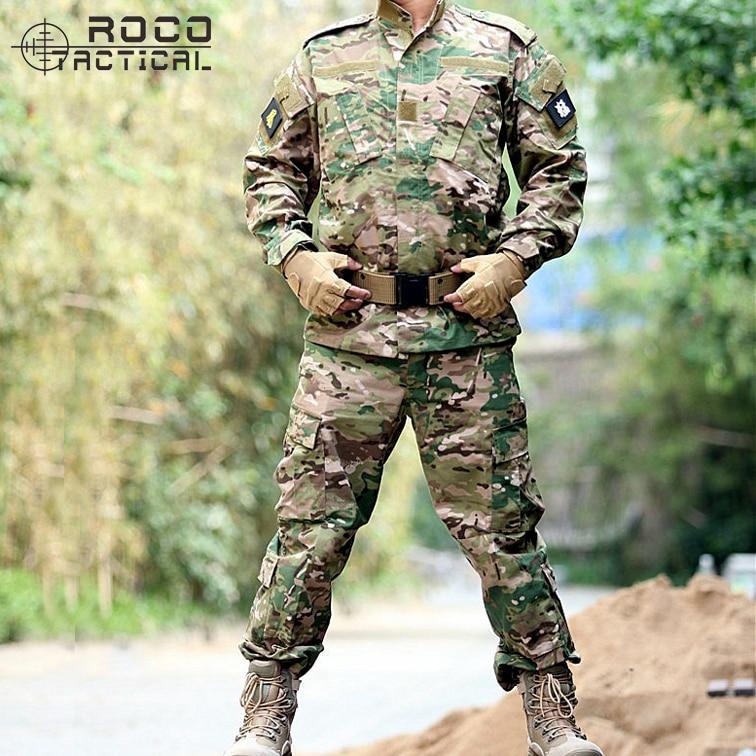ФОТО ROCOTACTICAL Mens BDU Combat Uniform Set Includes Tactical Jacket & Tactical Pants U.S Military Training Hunting Camouflage Suit
