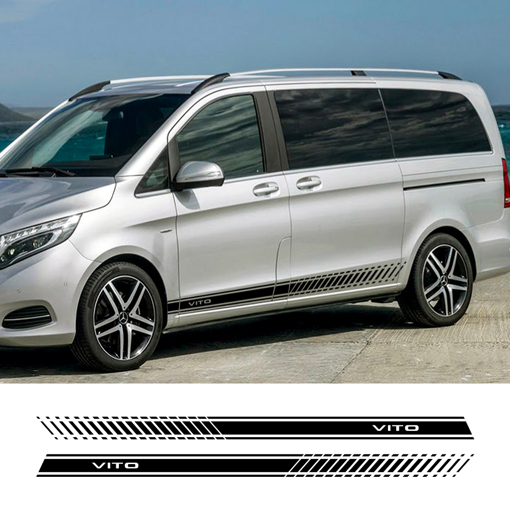 2pcs Car Sides Stripe Sticker Vinyl Auto Stylish Graphics Decal Styling Car Accessories For Mercedes Benz Vito V Class W447 V260