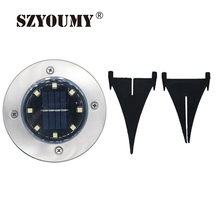 SZYOUMY Solar Powered Ground Light Waterproof Garden Pathway Deck Lights With 8 LEDs Lamp for Home Yard Driveway Lawn Road