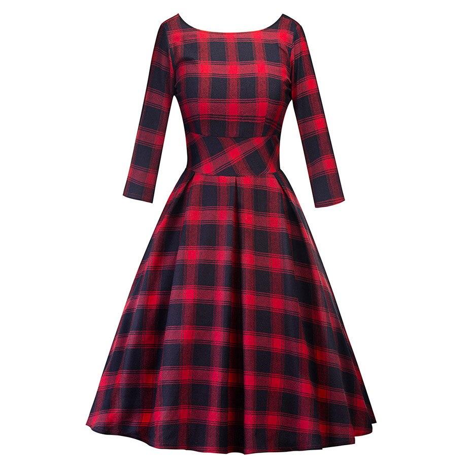 Women Autumn Plaid Vintage Dress Long Sleeve Slim Expansion Retro Robe Back Deep V Elegant Vestidos Backless Big Swing Clothes