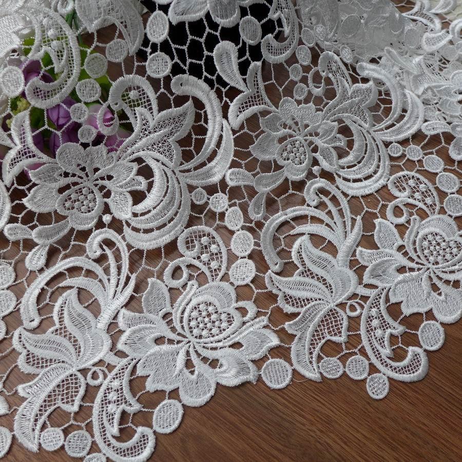 Tissu en dentelle de Venise, dentelle guipure, tissu blanc, tissu en dentelle de robe de mariée-in Tissu from Maison & Animalerie    1