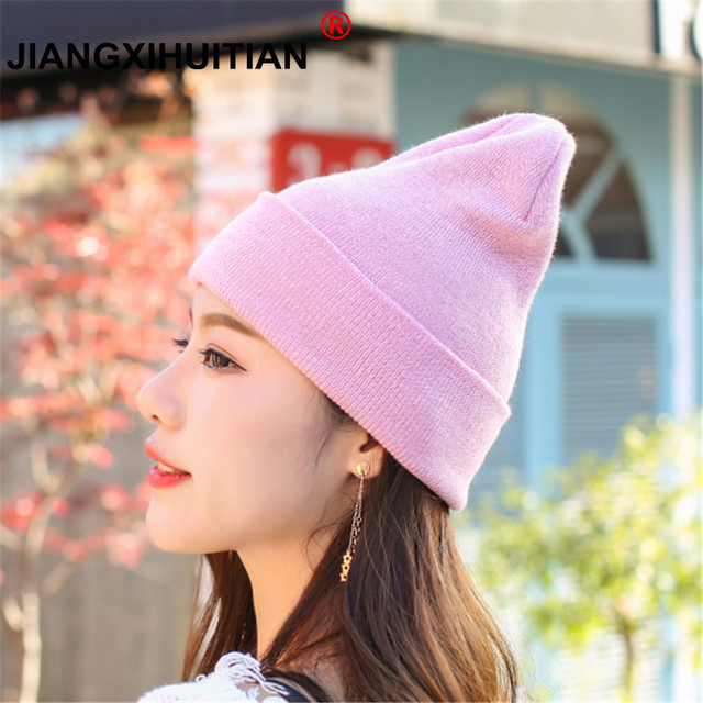 a8f88b0d936 Hat Female Unisex Cotton Solid Warm Soft Hot HIP HOP Women s Knitted Winter  Hats For Men