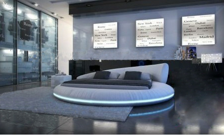 Bedroom:  Luxury extra-large size round bed,Top grain leather Soft Bed, Best Furniture at Bedroom house Villa King zise B09 - Martin's & Co