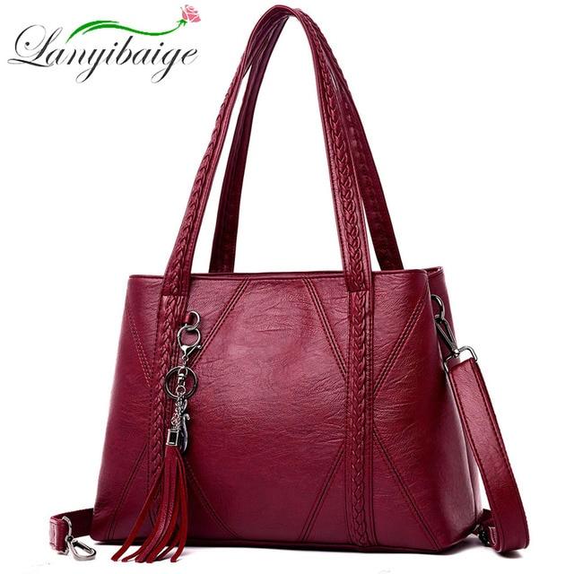 Nieuwe Lederen Kwastje Zakken Grote Capaciteit Vrouwen Schouder Messenger Bag Handtas Beroemde Big Bag Designer Handtassen Hoge Kwaliteit Sac