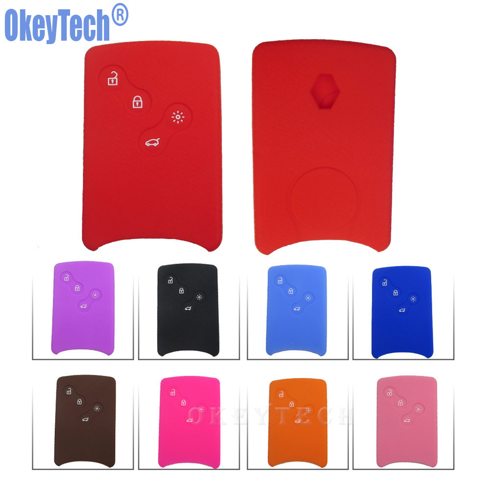 OkeyTech 4 Button Silicone Rubber Car-Styling Key Cover Case Protector For Renault Clio Logan Megane 2 3 Koleos Scenic Card Hold