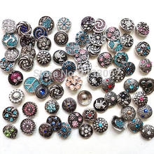 18mm Metal Snap Button Charm NEW 200pcs/lot free DHL wholesale  High quality Mix Many styles Rhinestone Styles Jewelry