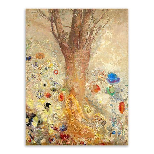 Retro Impressionism Fantasy Odilon Redon Zen Buddha Mural Canvas Art ...