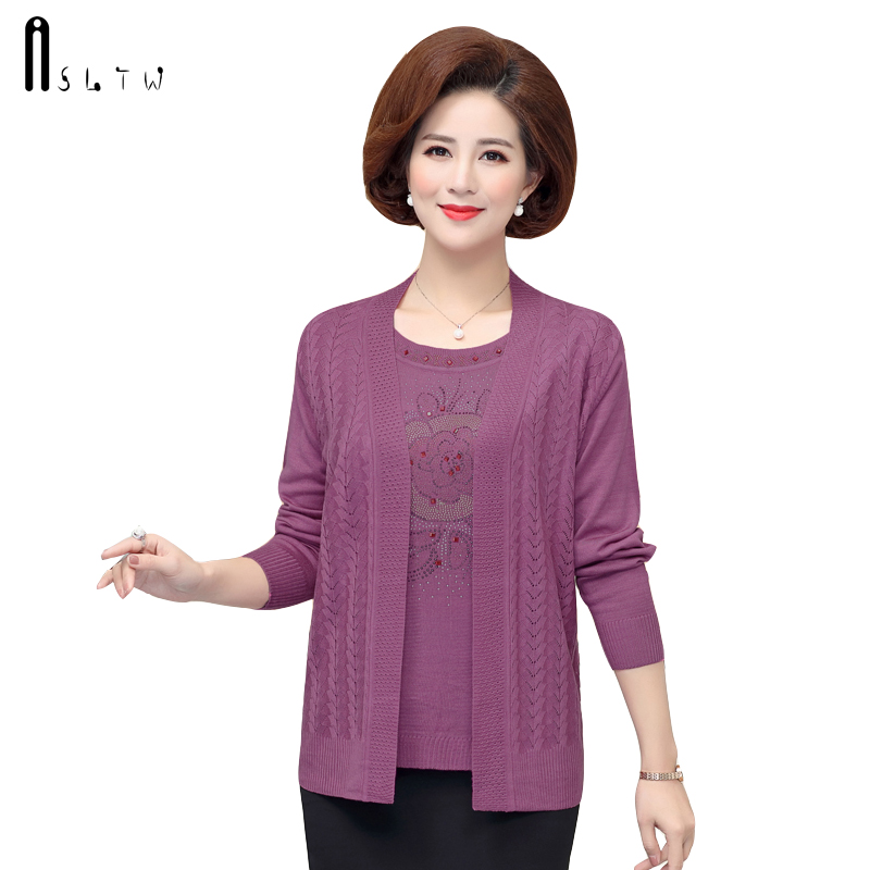 ASLTW 2 Pieces Set Sweater Fashion Spring Autumn Knitted Loose Sweater Cardigan Plus Size Leisure O Neck Shirt + Cardigan Suits