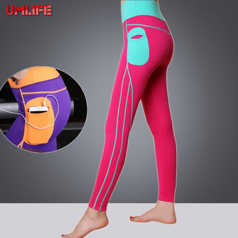 Prix pour UMLIFE Femme Yoga Pantalon Élastique Leggings Sport Femmes Fitness Pour Femmes Mesh Splice Slim Collants Running Pantalon de Sport S-XL