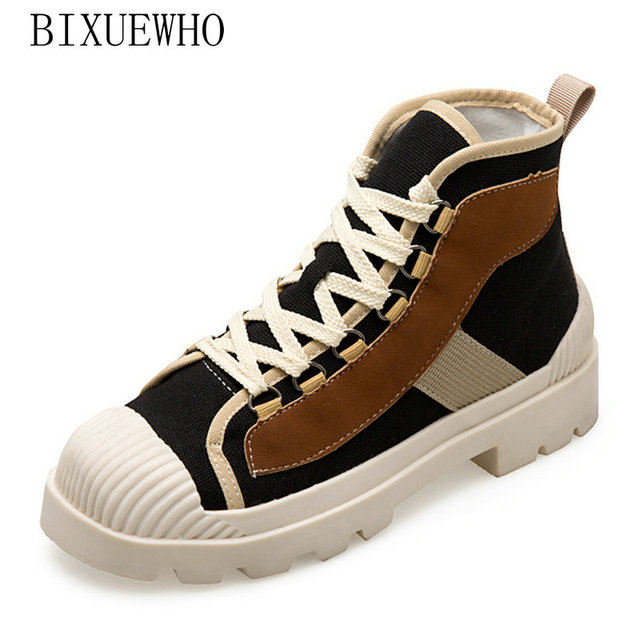 367cbf1b5af0 2018 Autumn Fashion Women Boots Low Heels Flat with Lace Up Canvas Short  Booties Ladies Shoes Good Quality Female Comfort Shoe