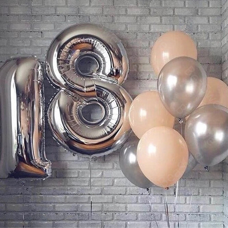 2pcs Lot Large Size 40 Happy 18 Birthday Foil Number Balloons Pink Rose Gold 18th Anniversary Party Decor Little Man Supplies In Ballons Accessories From