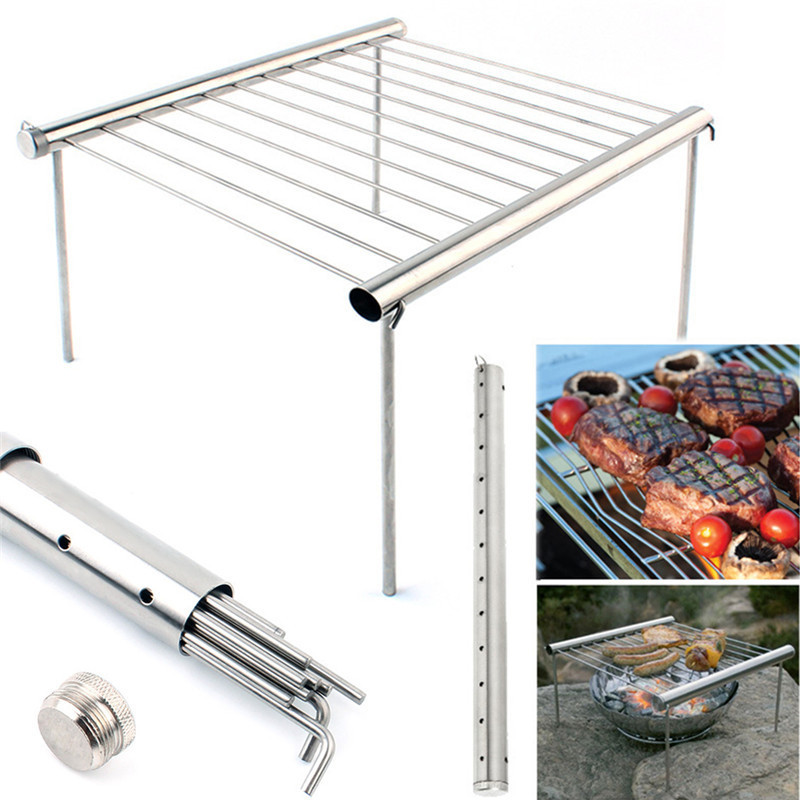 Picnic Barbecue Oven Stoven Outdoor Travel Camping Protable BBQ Grill Stainless Steel Simple Tube Detachable BBQ Stent