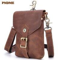 PNDME vintage genuine leather men fanny bag belt bag cowhide hip pack handmade waist packs crazy horse leather chest rig bag