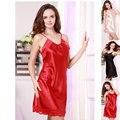 Seda ropa de noche atractiva satén seda dormir la correa de espagueti camisón salón princesa de encaje