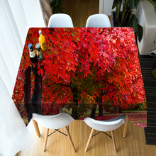 3d Forest landscape 3D Round Tablecloth Red Maple Leaves Pattern Washable Polyester Cotton Rectangular Table Cloth for Wedding