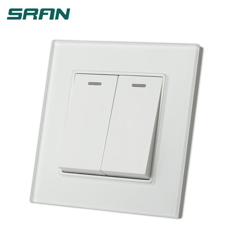 UK Standard 2 gang 1way/2way wall switch and  Galss panel lamp switch 16A push button switch,AC110V~250V light switch suck uk