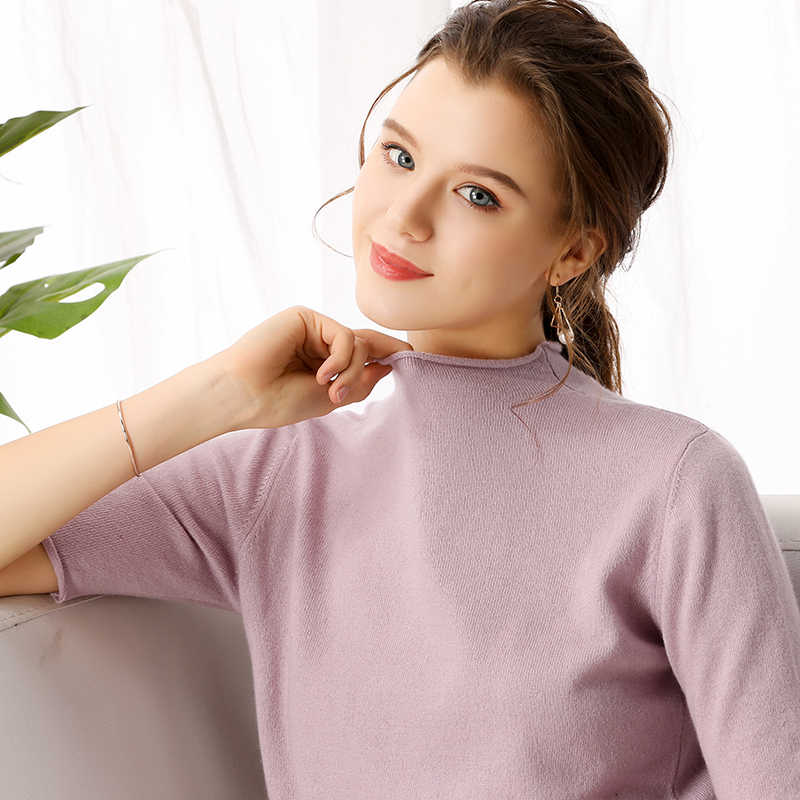 Кашемировый Весенний Новый женский свитер с круглым вырезом и коротким рукавом, Одноцветный тонкий короткий свитер, модный свитер с коротким рукавом