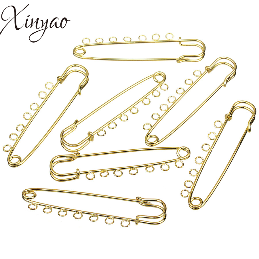 XINYAO 10Pcs/lot 80mm Length Gold Silver Color Iron Safety Brooch Pins With 7 Big Loops Fitting DIY Brooch Base Jewelry Making