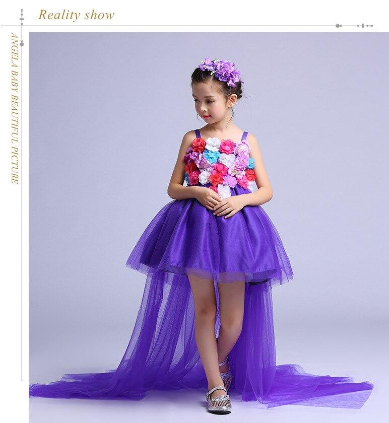 Cola larga Formal niñas Vestido de boda trasero largo flor púrpura ...