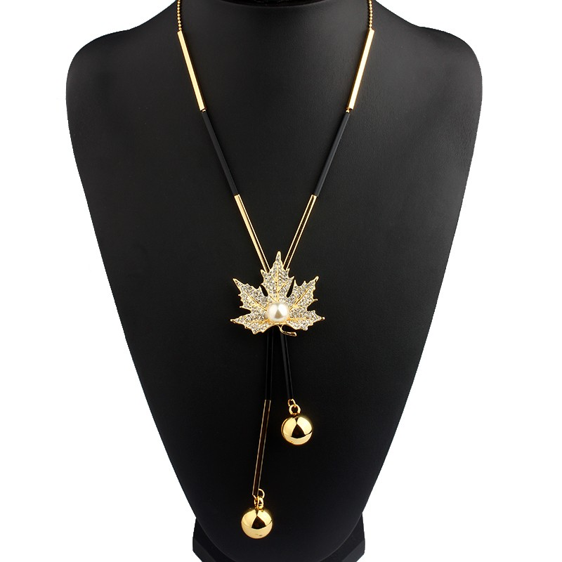 long-black-and-gold-or-silver-necklace-with-maple-leaf-pendant-1