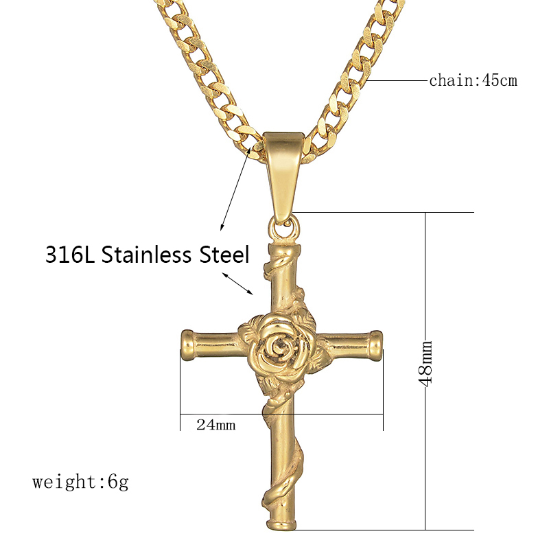 Charm Women Men Retro 316L Stainless Steel Cross Crucifix Pendant Chain Necklace