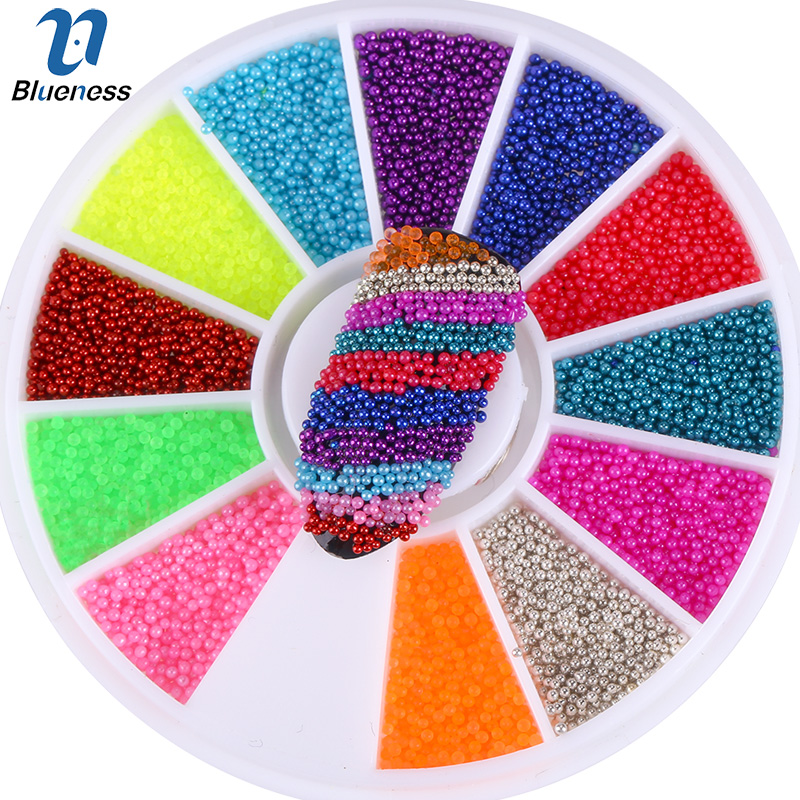 Blueness 12 Colors Microbeads Wheel Nail Decoration 3D Magic Candy Color Design Nail Art Caviar Beads Manicure Accessories ZP224 12 jars set colorful mini nail caviar glass rhinestones 12 colors micro beads balls manicure tools diy 3d nail art decoration