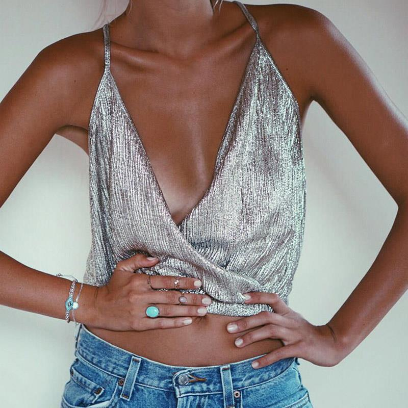 Sexy Deep V Neck Crop Tops Women Backless Bralette Tops Summer Beach Party Club Women Metallic Cropped Tank Top Camisole