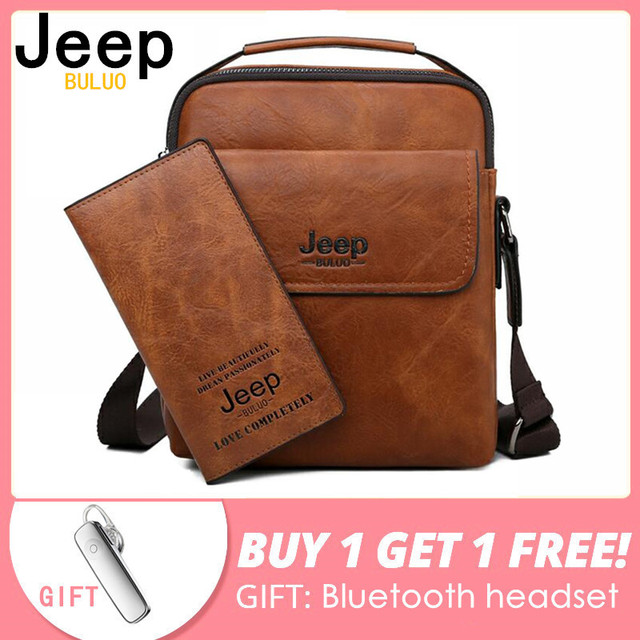 JEEP BULUO Men Shoulder Bags High Quality Man's Messenger Bag Casual Split Leather Crossbody Bags For Men Tote 2019 New 2PC/Set