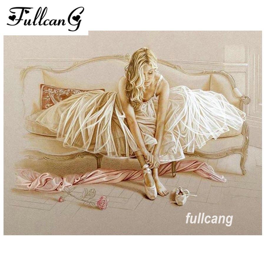 FULLCANG diy diamond painting full square diamond embroidery beautiful woman 5d mosaic paste pattern kits home decor D620