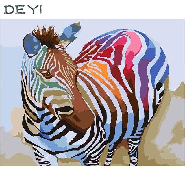 DEYI 40*50cm Hand Oil Painting Rainbow Zebra Decorative Linen ...