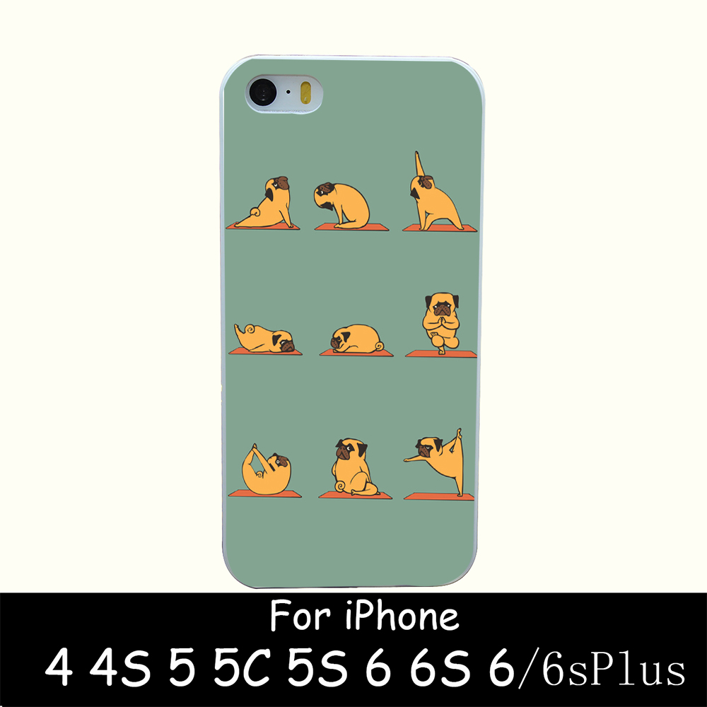 pug yoga Style Hard White Case Cover for iPhone 4 4s 5 5s 6 6s 6 plus Back Print Design