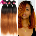 6a Peruvian Virgin Hair Straight 5pcs Lot 2 Tone Pervian Virgin Hair Straight Short Ombre Human Hair Weave Dark Brown Extensions