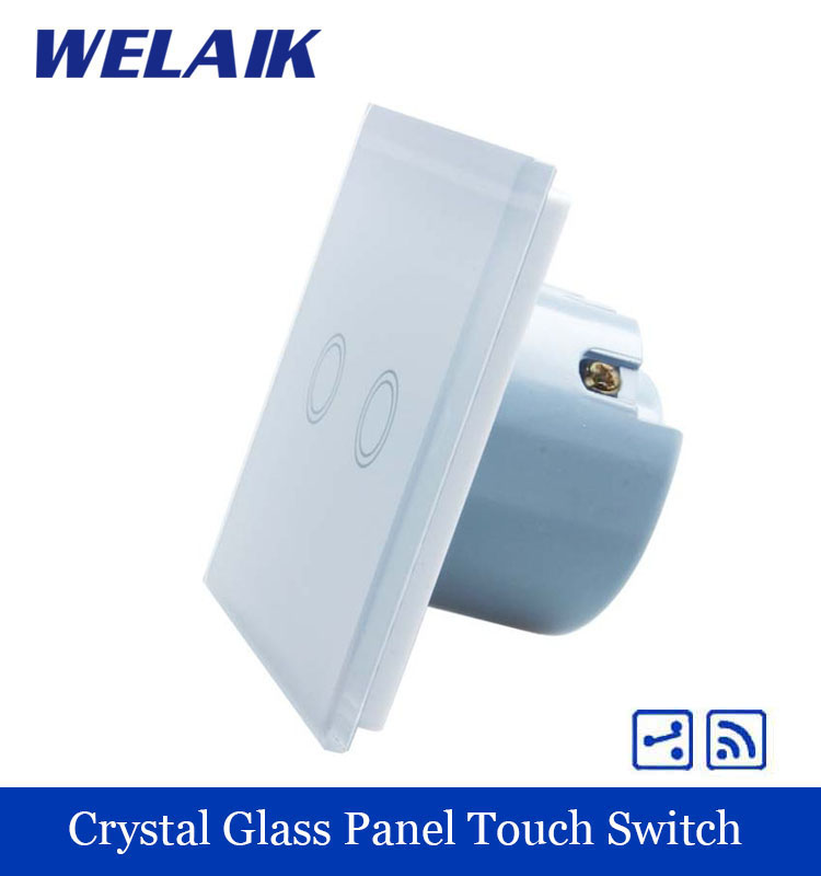 WELAIK Crystal Glass Panel Switch White Wall Switch EU Touch Switch Screen Wall Light Switch 2gang2way AC110~250V A1924XW/B welaik crystal glass panel switch white wall switch eu remote control touch switch light switch 1gang2way ac110 250v a1914xw b