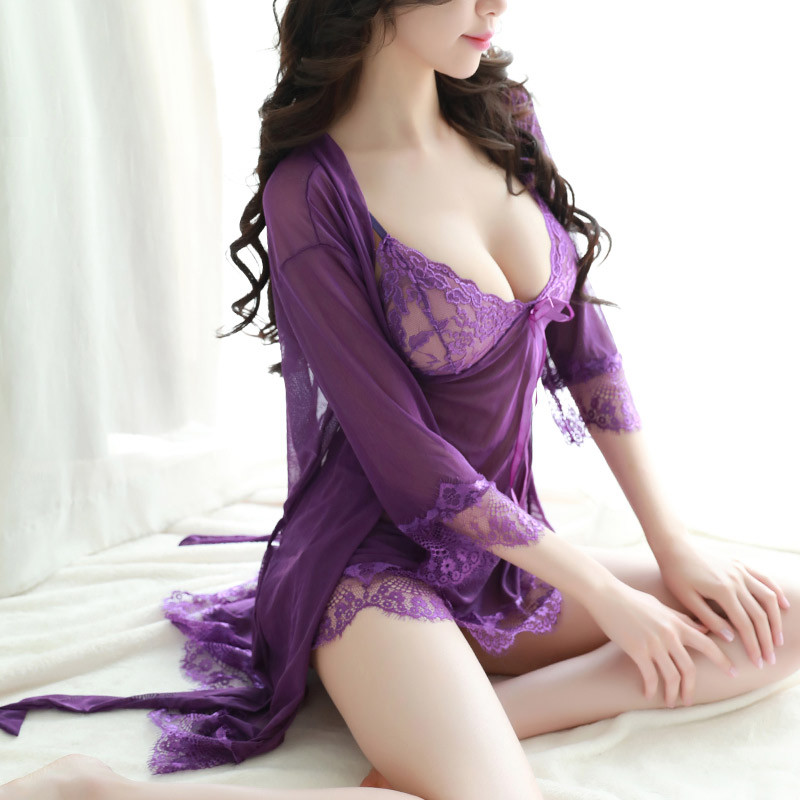 Summer Nightgown Women's Nightdress 2 Piece Sexy Sling Lace Embroidered Ruffle + Lace Nightdress Lace Dress Robe Sexy Sleepwear