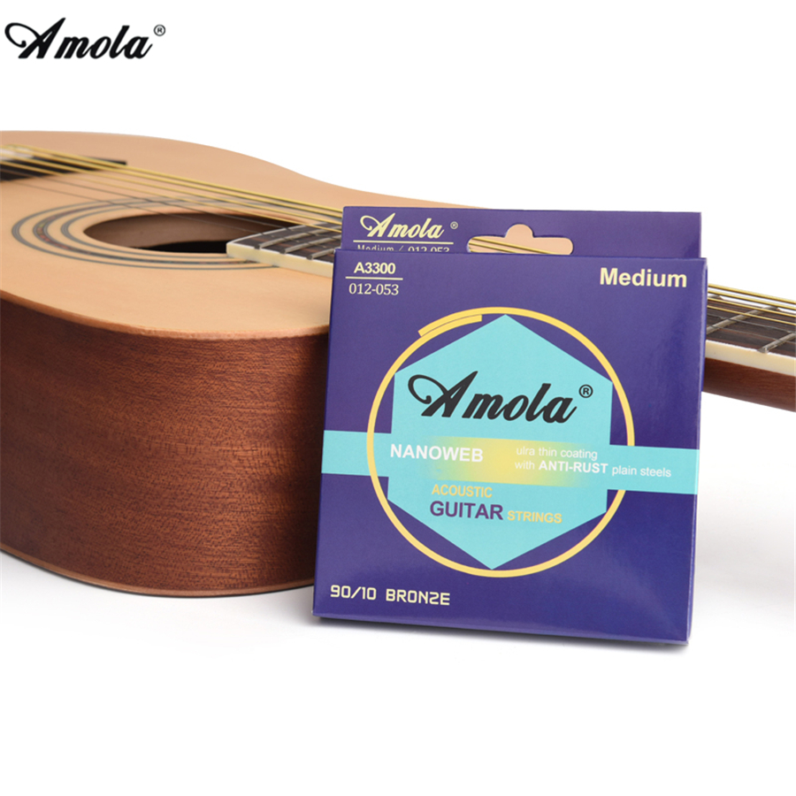 Amola NANOWEB 90/10 BROZE 010 011 012 Wound guitar strings Phosphor Broze ulra Thin Coating Acoustic Guitar Strings amola 009 010 regular light gauge nickel alloy wound electric guitar strings e1300