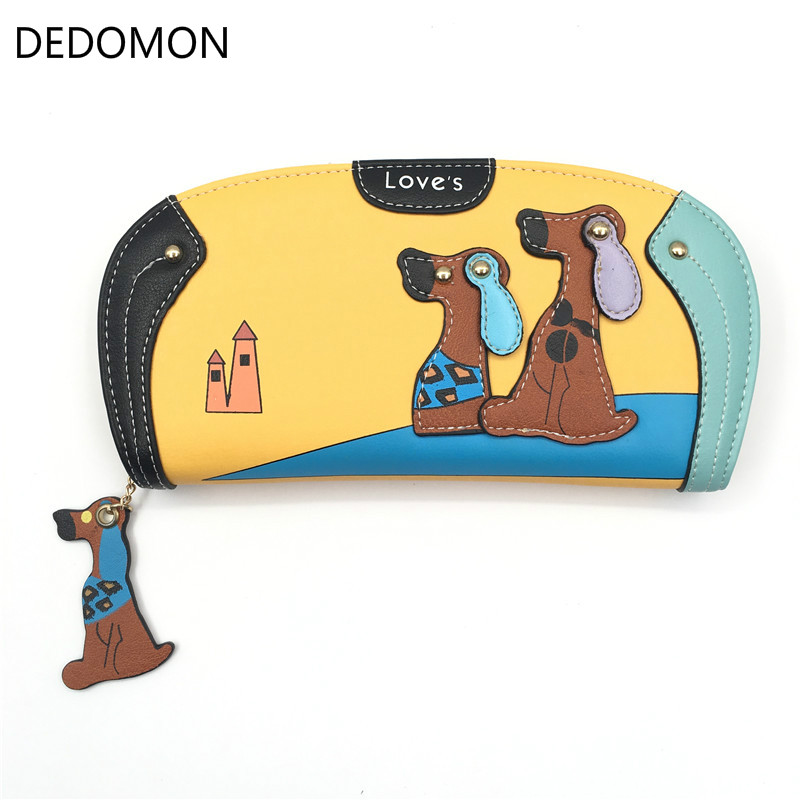 Fashion Cute Long Wallet Women PU Leather Cartoon Dog Wallets Lady Clutch 6 Colors Puppy Zipper Card Holder Female Change Purses cute cartoon cat pattern pu long wallet for women watermelon red