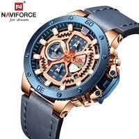 Naviforce Top Luxury Men's Watches Watch Men Clock Military Leather Sports Watches Quartz Waterproof Wristwatches