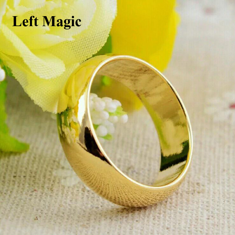 1 Pcs Gold Plate Ring Magic Tricks For Circular Arc Magnetic Ring 18mm/19mm/20mm/21mm Close Up Magic Props-Wizard PK Ring B1032