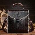 Genuine Leather Cowhide Women Messenger Shoulder Crocodile Pattern Style Ladies Cross Body Female Luxury Vintage Tote Hand Bag