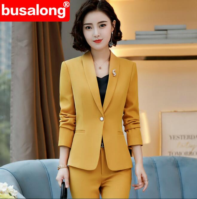 2 Pcs Set Autumn Women Slim Fashion Interview Pant Suit White Yellow Color Long Sleeve Sales Suits For Office Business Work Wear