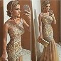 Sexy oro vestidos noche con lujo listones Sheer Scoop sirena formales del partido del vestido sin espalda trompeta vestido de noche más nuevo
