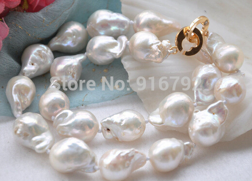 "Lustre 17 "" 20 mm blanc rrd BAROQUE KESHI REBORN collier de perles"