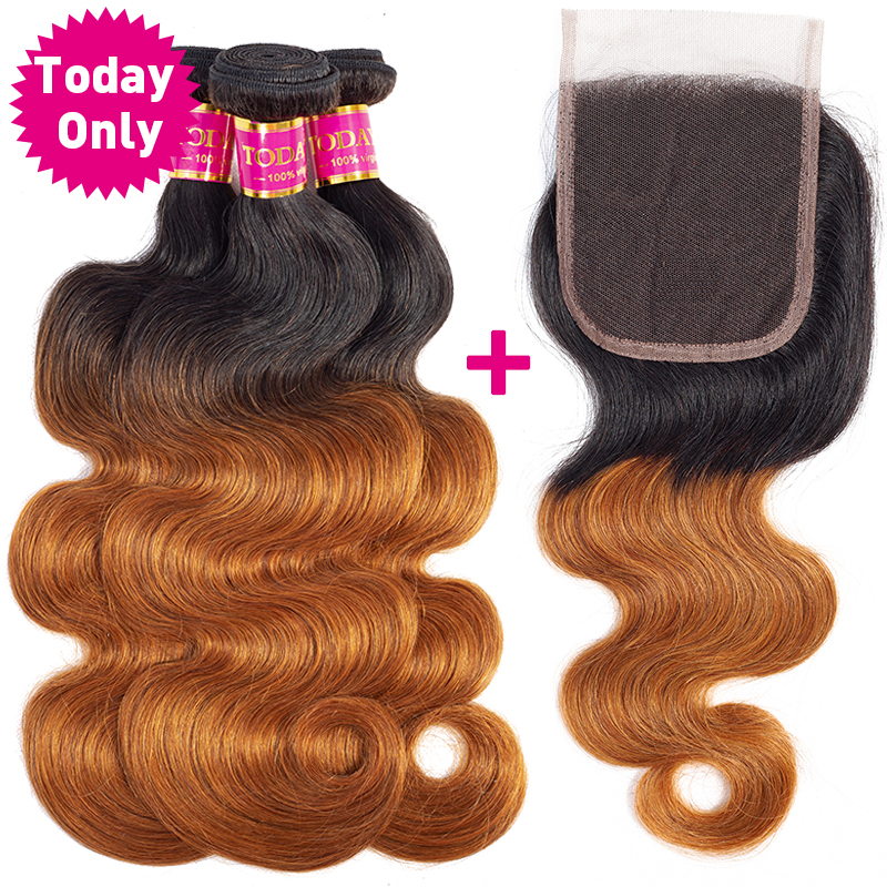 TODAY ONLY Peruvian Hair Bundles With Closure Ombre Body Wave Bundles With Closure Remy Human Hair