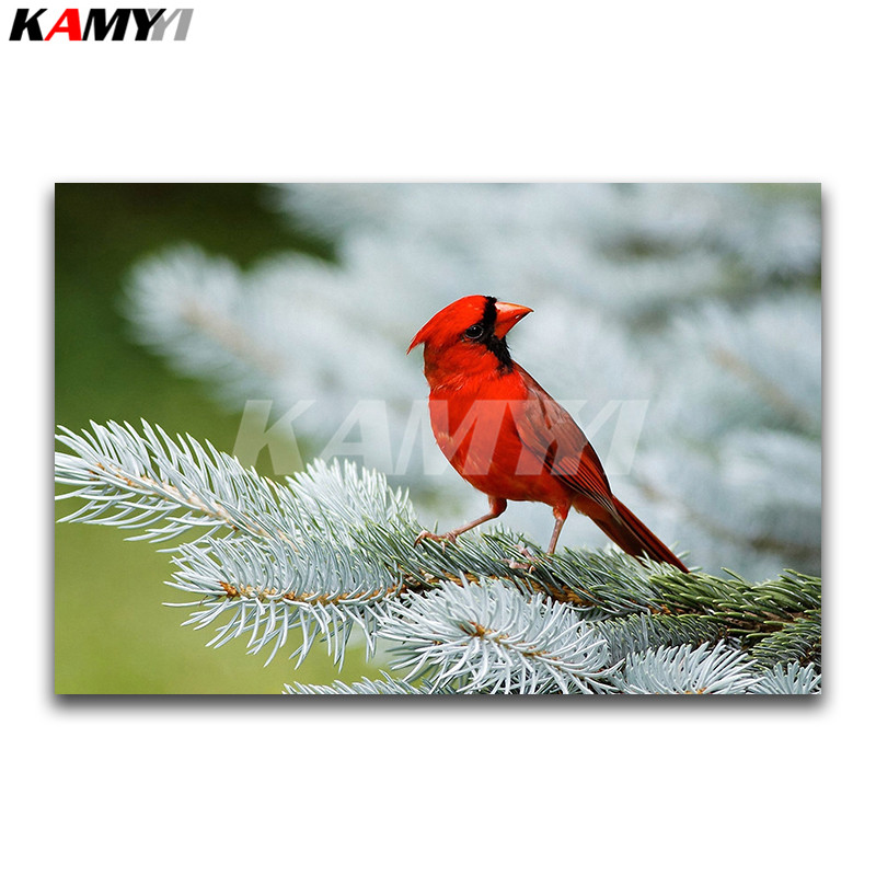 DIY 3D pittura Diamante animale Piazza Piena di Diamante ricamo punto Croce rossa Starling Pieno Diamante Rotondo mosaico pappagallo uccello
